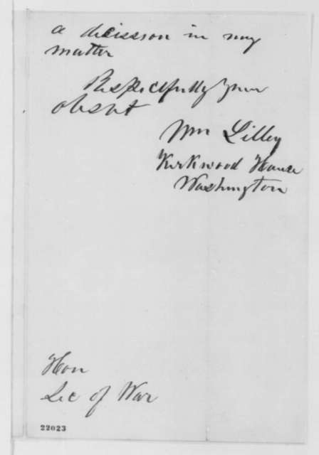 William Lilley to Edwin M. Stanton, Friday, February 27, 1863  (Facts concerning his case)