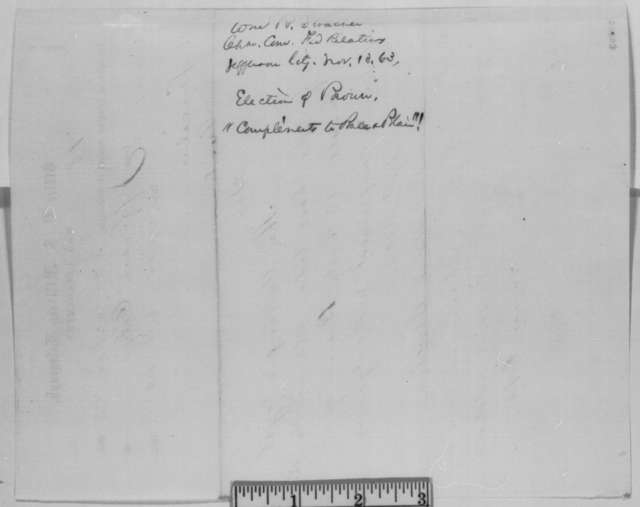 William R. Stracher to Abraham Lincoln, Friday, November 13, 1863  (Telegram reporting election of B. Gratz Brown to Senate)