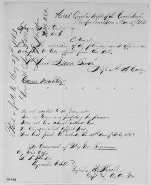 William S. Rosecrans, Friday, May 29, 1863  (Special Orders No. 146)