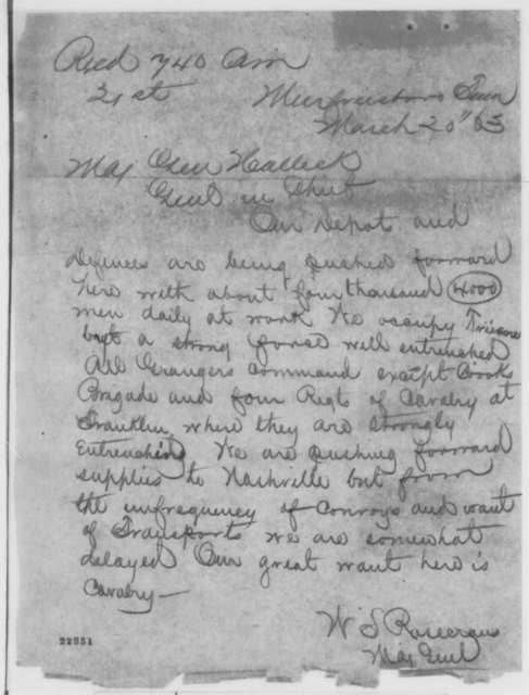 William S. Rosecrans to Henry W. Halleck, Friday, March 20, 1863  (Telegram reporting military situation in Tennessee)