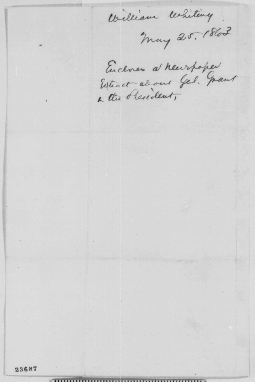 William Whiting to John G. Nicolay, Monday, May 25, 1863  (Sends newspaper clipping)
