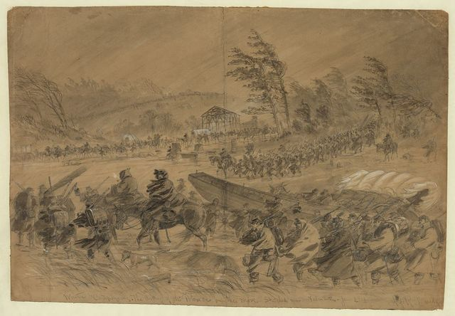 Winter Campaigning. The Army of the Potomac on the move. Sketched near Falmouth--Jan. 21st