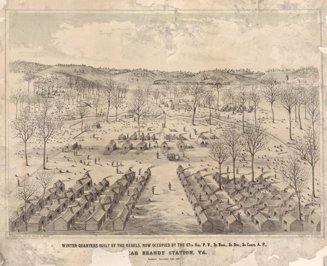 Winter quarters built by the rebels, now occupied by the 67th reg. P.V., 3d Brig., 3d Div., 3d Corps, A.P., [n]ear Brandy Station, Va. /