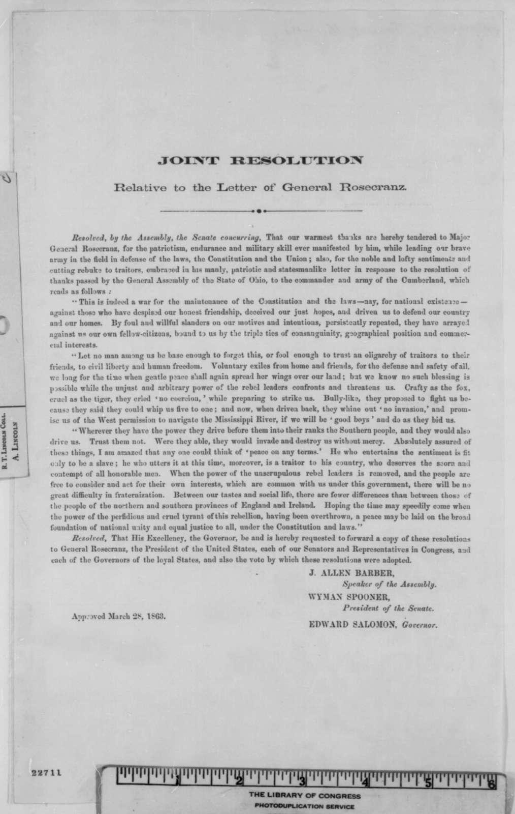 Wisconsin Legislature, Saturday, March 28, 1863  (Printed Resolution)