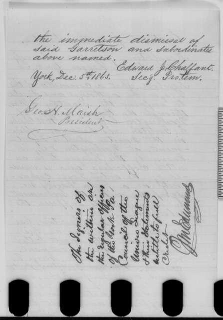 York Pennsylvania Union League, Saturday, December 05, 1863  (Resolutions regarding dismissal of Charles E. Garretson; endorsed by J. M. Edmunds)