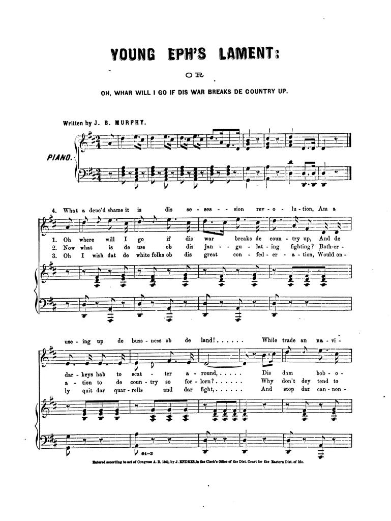 Young Eph's lament, or, Oh whar will I go if dis war breaks de country up ... written by J.B. Murphy; and sung by S.S. Purdy.