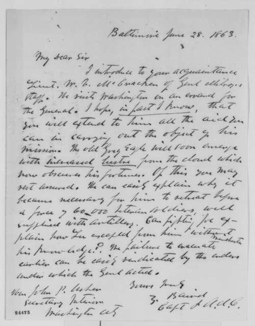 Zebulon Baird to John P. Usher, Sunday, June 28, 1863  (Introduction)