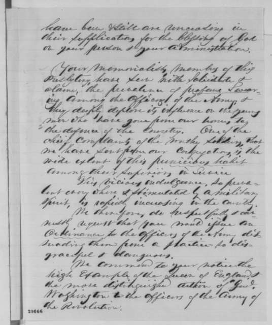 A. A. Wood and B. B. Goldsmith to Abraham Lincoln, Wednesday, January 20, 1864  (Support from Presbyterians at Geneva, New York and request that profanity in the army be stopped)