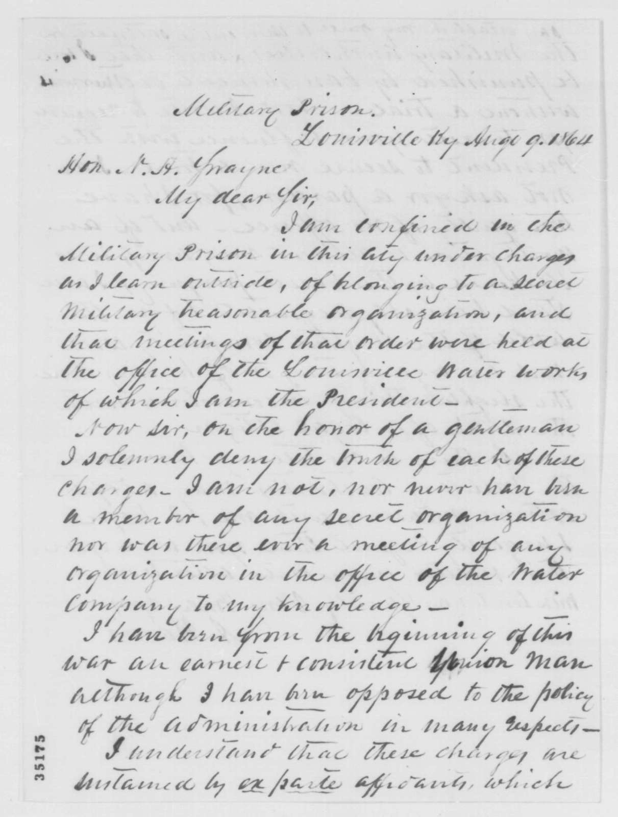 A. Harris to Noah H. Swayne, Tuesday, August 09, 1864  (Seeks release from prison)