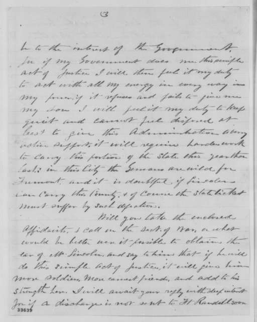 A. J. Bell to John A. Kasson, Thursday, June 09, 1864  (Seeks discharge of his son, John W. Bell)