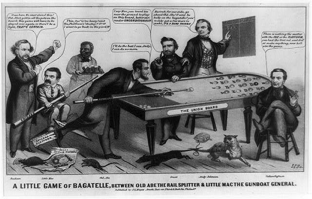 A little game of bagatelle, between Old Abe the rail splitter & Little Mac the gunboat general