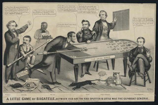 A little game of bagatelle, between Old Abe the rail splitter & Little Mac the gunboat general.