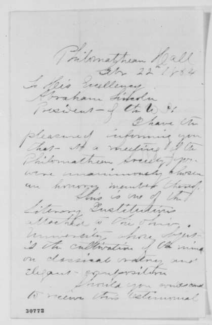 A. M. Osborne to Abraham Lincoln, Monday, February 22, 1864  (Election to literary society at Ohio University)