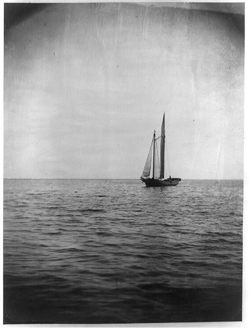 [A small sailboat or schooner, possibly the Benjamin S. Wright, at sea]