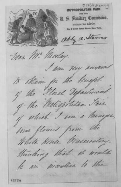 Abby A. Stearns to John G. Nicolay, March 4 [1864]  (Donation of flowers to Sanitary Fair)