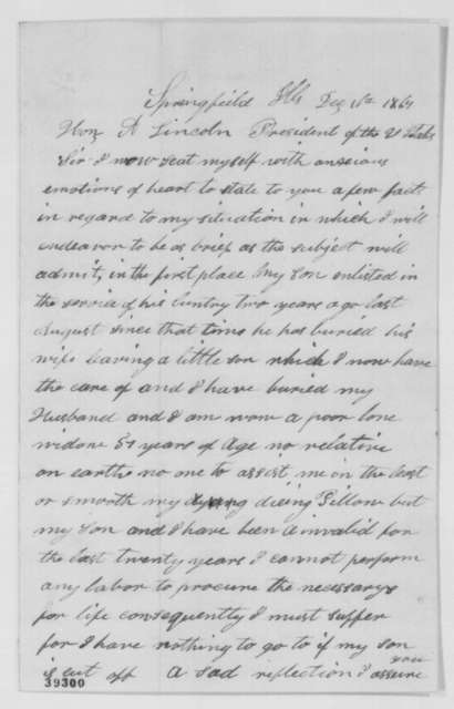 Abigail W. Abel to Abraham Lincoln, Friday, December 16, 1864  (Requests military discharge for her son; with letter from Ephalet B. Hawley to Lincoln)