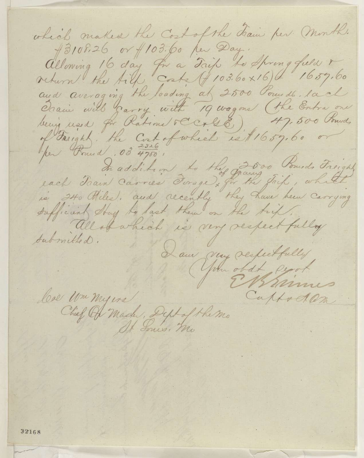 Abraham Lincoln papers: Series 1. General Correspondence. 1833-1916: Edward B. Grimes to William Myers, Wednesday, April 06, 1864 (Military affairs in Missouri; endorsed by Myers)