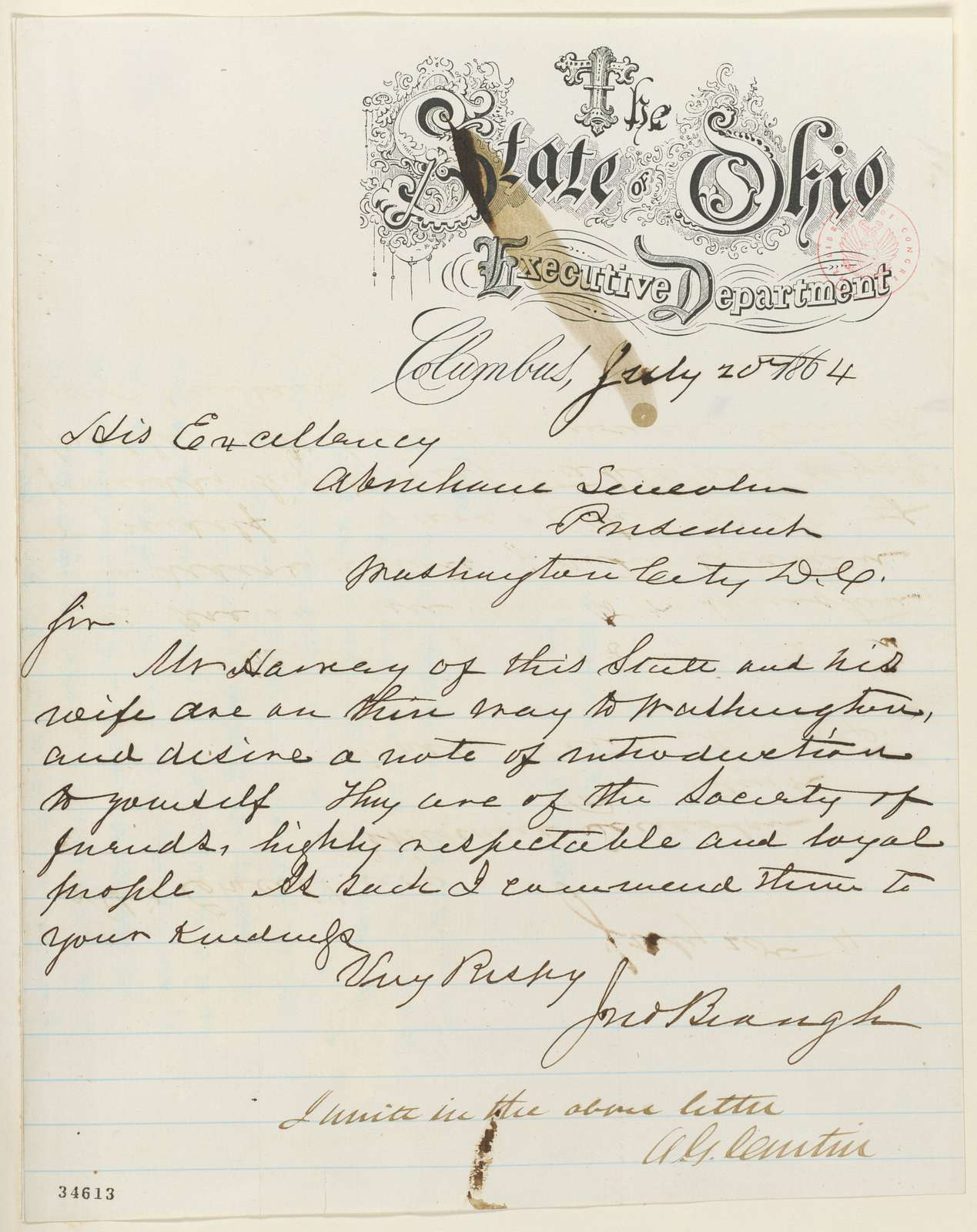 Abraham Lincoln papers: Series 1. General Correspondence. 1833-1916: John Brough to Abraham Lincoln, Wednesday, July 20, 1864 (Introduction; endorsed by Andrew G. Curtin)