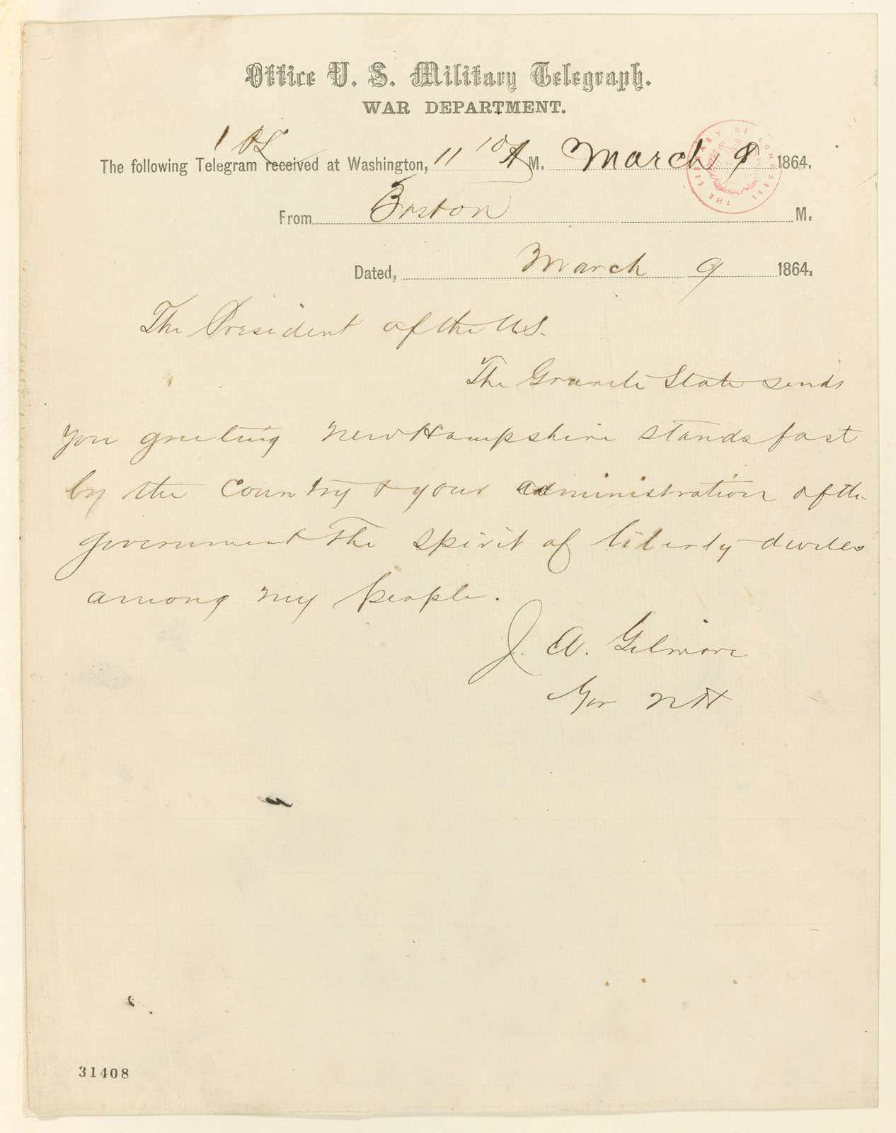Abraham Lincoln papers: Series 1. General Correspondence. 1833-1916: Joseph A. Gilmore to Abraham Lincoln, Wednesday, March 09, 1864 (Telegram reporting New Hampshire election results)