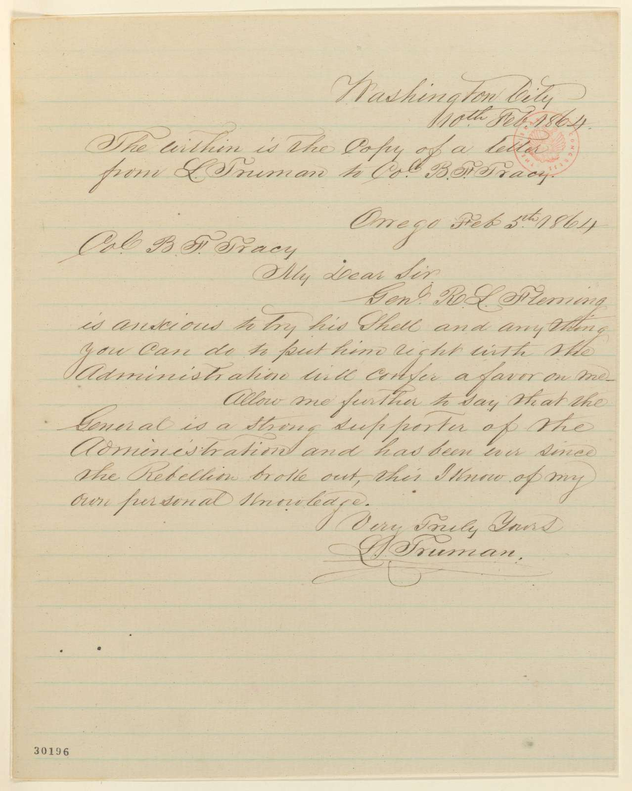 Abraham Lincoln papers: Series 1. General Correspondence. 1833-1916: L. Truman to Benjamin F. Tracy, Friday, February 05, 1864 (Recommendation)