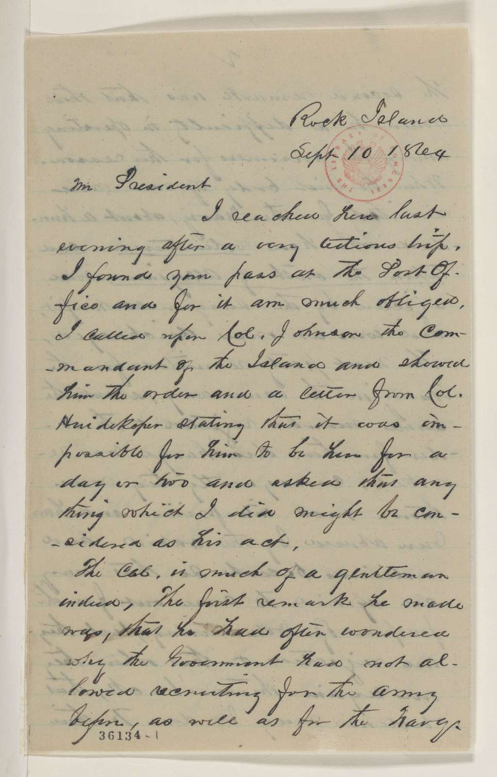 Abraham Lincoln papers: Series 1. General Correspondence. 1833-1916: Solomon Newton Pettis to Abraham Lincoln, Saturday, September 10, 1864 (Mission to prison camp at Rock Island; with telegram from Col. Johnson)