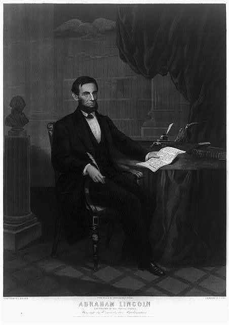 Abraham Lincoln President of the United States signing the Emancipation Proclamation / painted by W.E. Winner ; engraved by J. Serz.