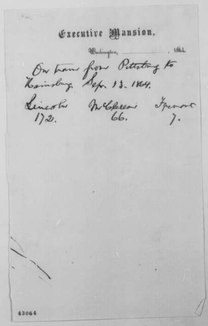 Abraham Lincoln, [September 13] 1864  (Memorandum on Popular Political Preferences)