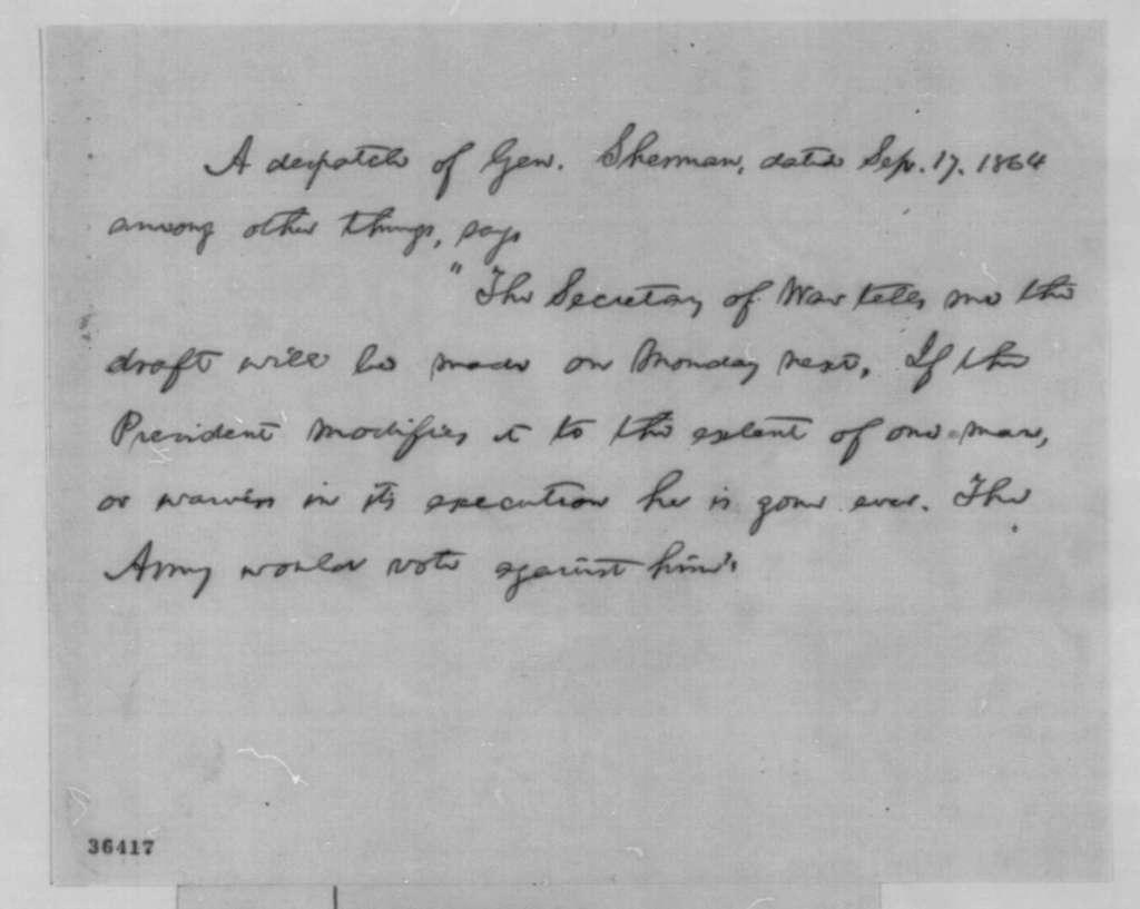 Abraham Lincoln, September 19, 1864  (Memorandum on Draft)