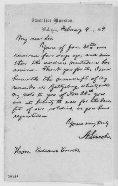 Abraham Lincoln to Edward Everett, Thursday, February 04, 1864  (Manuscript copy of Gettysburg Address)