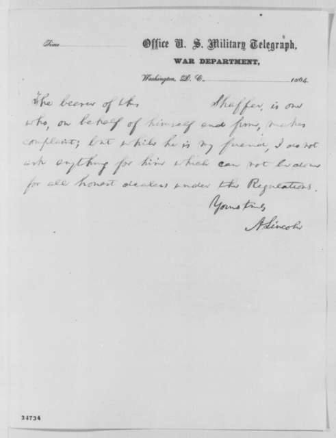 Abraham Lincoln to Edward R. S. Canby, Monday, July 25, 1864  (Cotton trade)
