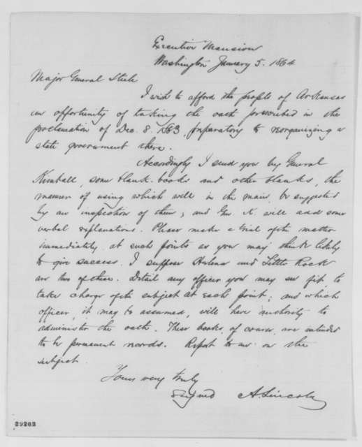 Abraham Lincoln to Frederick Steele, Tuesday, January 05, 1864  (Administration of loyalty oath in Arkansas)