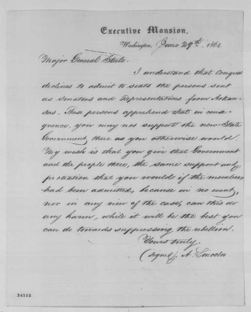 Abraham Lincoln to Frederick Steele, Wednesday, June 29, 1864  (Arkansas Senators and Representatives)
