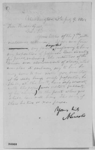 Abraham Lincoln to Horace Greeley, Saturday, July 09, 1864  (Niagara Falls negotiations)