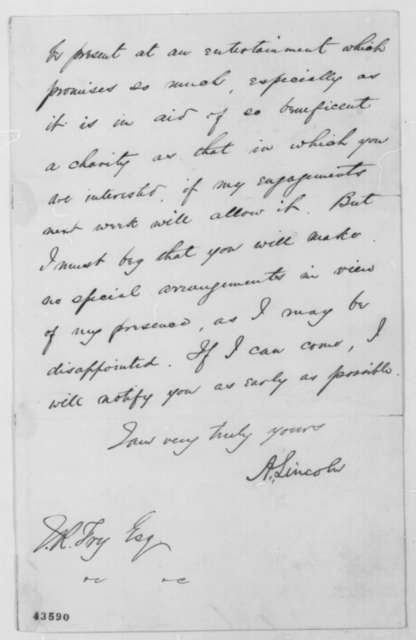 Abraham Lincoln to James R. Fry, Saturday, April 30, 1864  (Declines invitation)