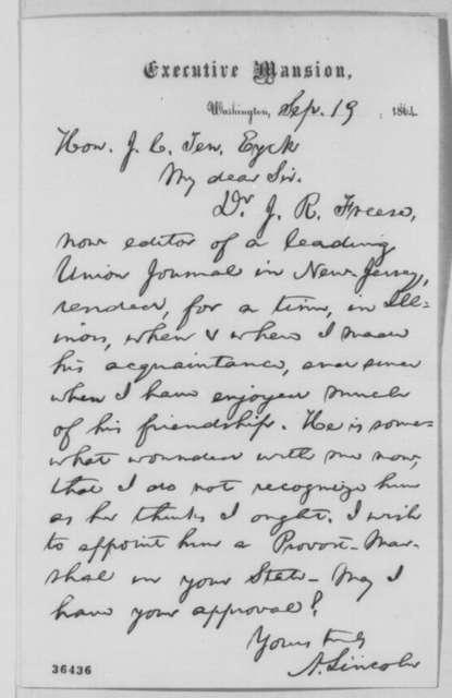 Abraham Lincoln to John C. Ten Eyck, Monday, September 19, 1864  (Dr. J. R. Freese)