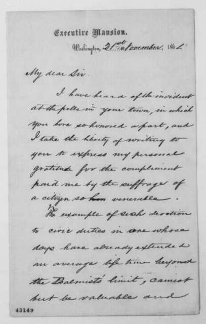 Abraham Lincoln to John Phillips, Monday, November 21, 1864  (Appreciation)
