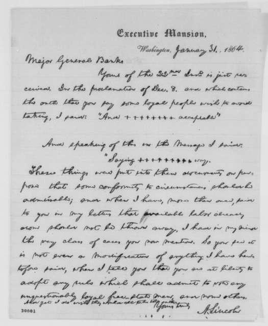 Abraham Lincoln to Nathaniel P. Banks, Sunday, January 31, 1864  (Loyalty oath in Louisiana)