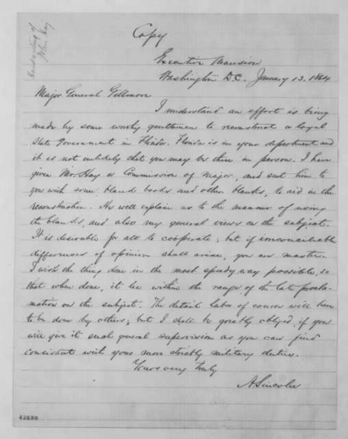 Abraham Lincoln to Quincy A. Gillmore, Wednesday, January 13, 1864  (Reconstruction in Florida)