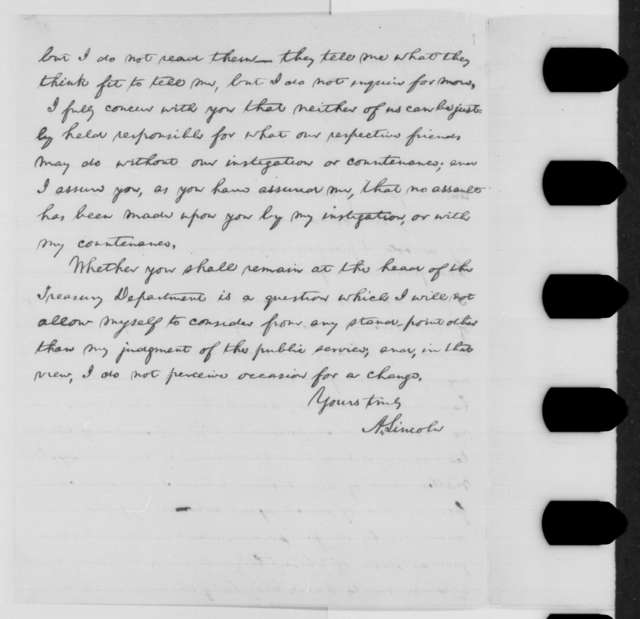 Abraham Lincoln to Salmon P. Chase, Monday, February 29, 1864  (Pomeroy Circular)