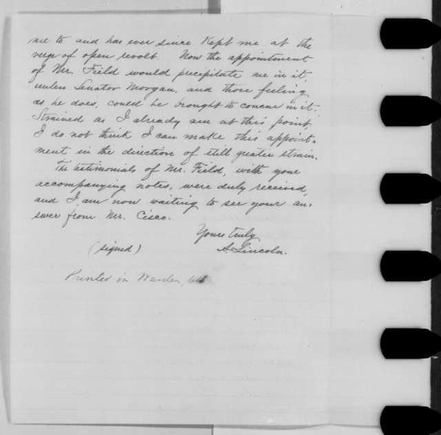 Abraham Lincoln to Salmon P. Chase, Tuesday, June 28, 1864  (Replacement for John J. Cisco; with copy)