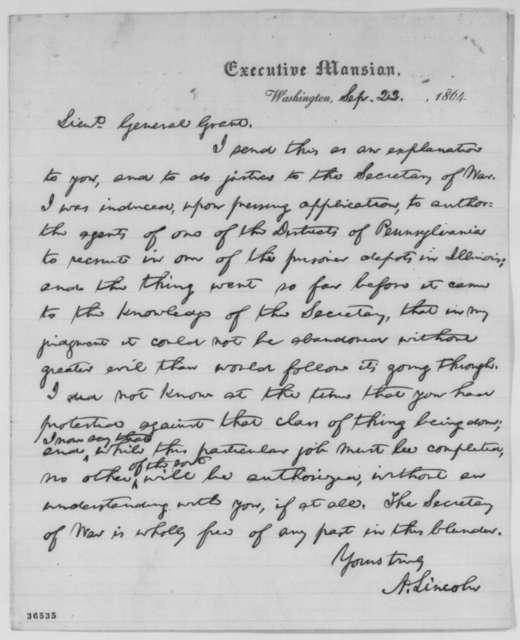 Abraham Lincoln to Ulysses S. Grant, Thursday, September 22, 1864  (Recruitment of Confederate prisoners to serve in Union army)