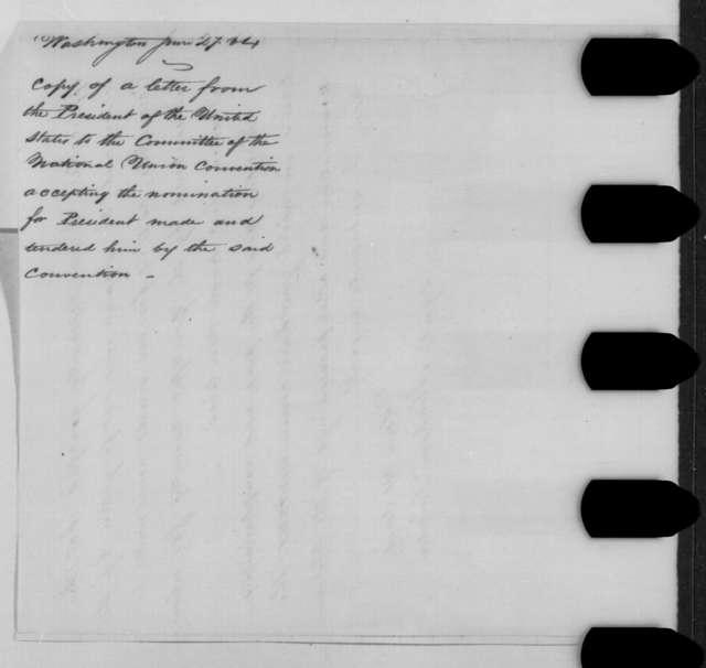 Abraham Lincoln to William Dennison, et al., Monday, June 27, 1864  (Acceptance of nomination)