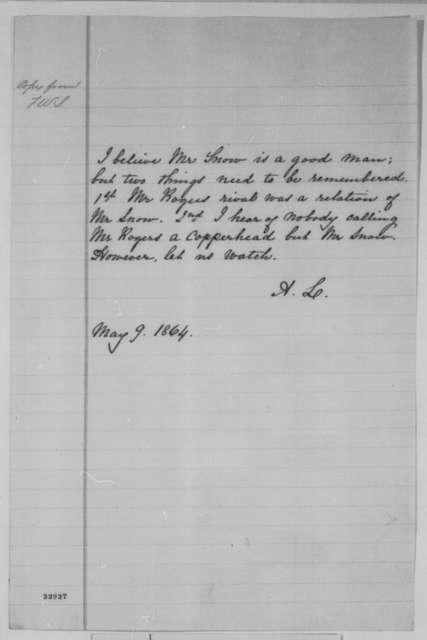Abraham Lincoln to William H. Seward, Monday, May 09, 1864  (Arkansas politics)