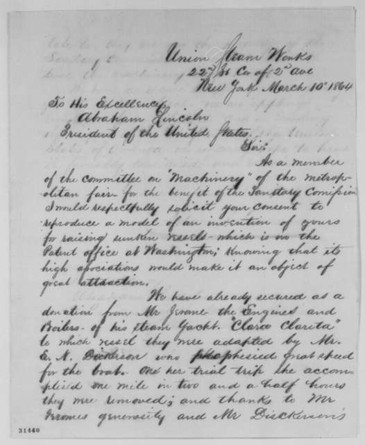 Adam S. Cameron to Abraham Lincoln, Thursday, March 10, 1864  (Requests permission to make model of Lincoln's patented invention for sale at sanitary fair)