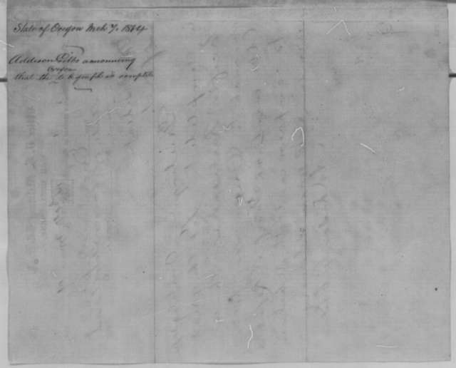 Addison C. Gibbs to Abraham Lincoln, Saturday, March 05, 1864  (Telegram reporting completion of telegraph)