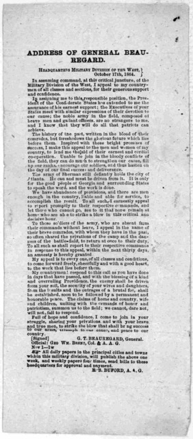 Address of General Beauregard. Headquarters Military division of the west. October 17th, 1864.