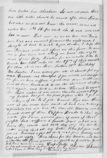 Agnes Schmidt to Abraham Lincoln, Saturday, November 12, 1864  (Wants to know first name of Mrs. Lincoln)