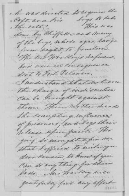 Ahnah Gratz to Montgomery Blair, Monday, May 30, 1864  (Seeks release of prisoners)