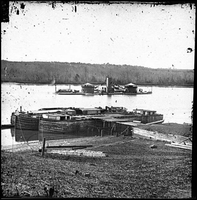 [Aiken's Landing, Va.  Double-turreted monitor U.S.S. Onondaga on the James]