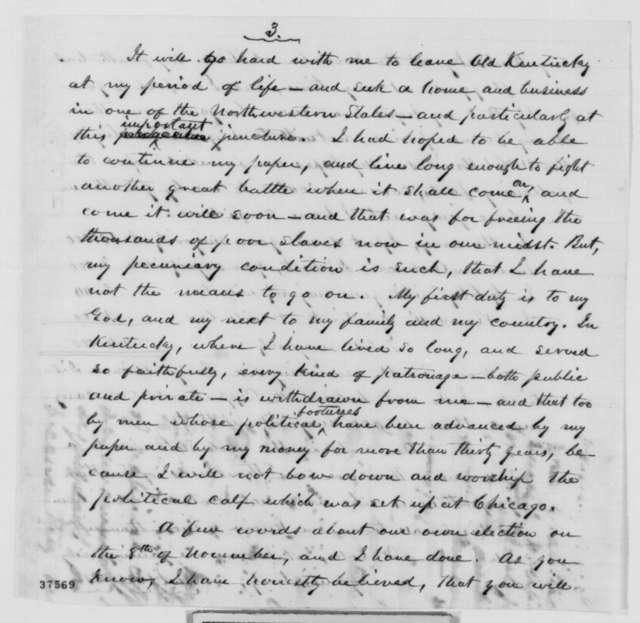 Albert G. Hodges to Abraham Lincoln, Monday, October 24, 1864  (Seeks office; politics)